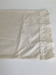 """JC Penney Home Collection King Pillowcase Ivory Eyelet Ruffled  Percale 39.5x20"""""""