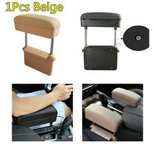 1X Beige Pu Leather Car Seat Gap Adjustable Armrest Storage Box Elbow Support