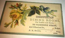 Rare Antique Victorian American Cosmopolitan Dining Room & Menu Price Trade Card