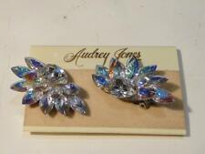 Lovely Audrey Jones Rhinestone Clip Earrings New on Card