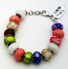 New Sterling Silver 925 Murano Glass Mixed Color Beads 7.5' In Bracelet