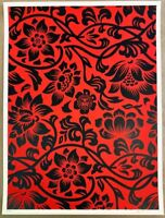 Shepard Fairey Obey Giant FLORAL PATTERN Signed Numbered Screen Print RARE