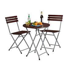 Relaxdays Ensemble table ronde et 2 chaises de Jardin pliables en bois Marron...