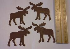 1 pk of 4 Rusty tin Moose for Crafts Signs Lodge Winter Lake Woodland Cabin