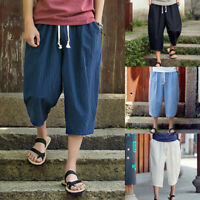 UK Mens Thai Yoga Pants Baggy Harem Trousers Bottoms Solid Unisex Hippie Holiday