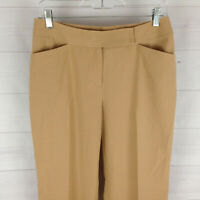 Worthington womens size 8P stretch beige flat front straight dress career pants