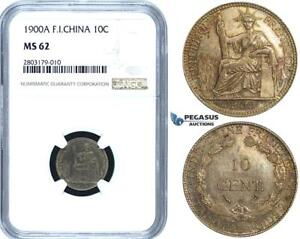 ZE46, French Indo-China, 10 Centimes 1900-A, Paris, Silver, NGC MS62