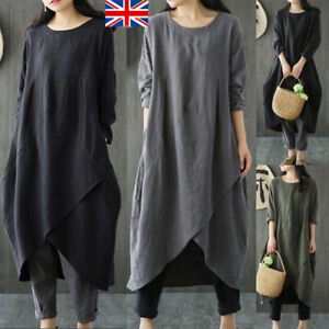 Womens Long Sleeve Pockets Tunic Solid Tops Ladies Loose Pullover Shirt Dress UK