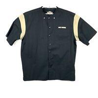 Harley Davidson Mens Black Short Sleeve Button Up Mechanics Shirt Jersey Sz XL