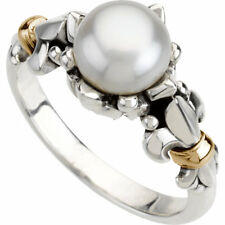 Pearl Sterling Silver and 14k Yellow Gold Fleur de Lis Fashion Promsie Ring Band
