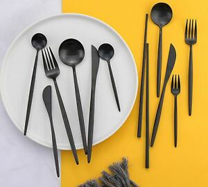24pcs Matt Black Dinnerware Set Stainless Steel Knife Fork Spoon Kitchen Decor X
