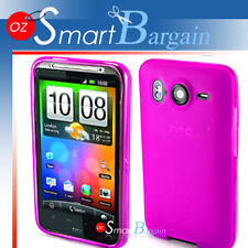 PINK Soft Gel TPU Cover Case For HTC Desire HD + Film