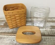 Longaberger Tall Tissue Basket With Wood Lid & Liner 1999