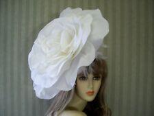 Big White Rose Fascinator, Wedding Hat, Garden Tea, Halloween, Kentucky Derby