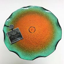 NEW ARTISTIC ACCENTS ORANGE+GREEN+SILVER SERVING GLASS CAKE STAND,PLATTER,DISH