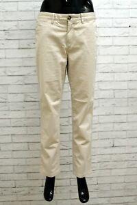 Pantalone Donna Tommy Hilfiger Taglia 46 Cotone Elastico Beige Woman Pants