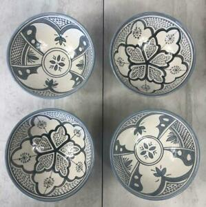 Assorted Artisan Appetizer Plates Gray 4 Set Ceramic Moroccan Hand Paint