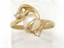 Diamond Right Hand Ring .06ct 14k Yellow Gold Pearl and Round