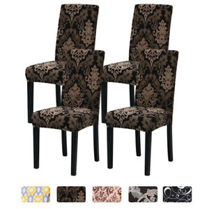 1/4/6pcs Stretch Dining Room Chair Covers Spandex Slipcovers Protector Removable