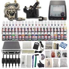 Complete Tattoo Machine Kit 2 Gun Power Supply 40 Ink 50 Needle Practice Skin