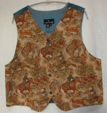 Carole Little Plus Size 1X Western Tapestry & Denim Button Front Vest USA Made