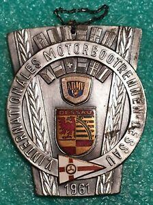 V INTERNATIONALE MOTORBOAT COMPETITION DESSAU 1961 DDR - OLD PLAQUE