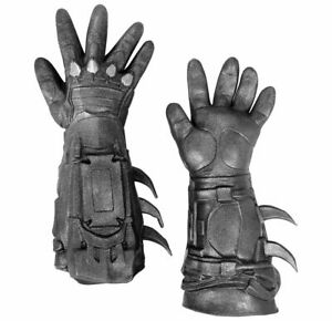 Batman Deluxe Silver Grey Gloves, Mens Arkham City Costume Accessory