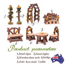 DIY Wooden Table Bridge Dollhouse Kit Miniature Fairy Garden Ornament Decor Pot