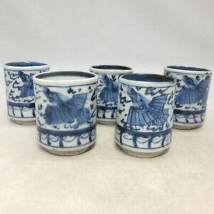 A038: Japanese five SAKE cups of really old IMARI porcelain with dragon painting