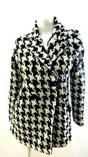 CANDIES WOMEN'S BLACK AND WHITE WOOL BLEND TWEED PEACOAT SIZE L