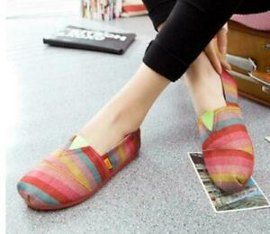 Womens Multi Color Canvas loafer Fashion Striped Casual Flat Heel Shoes MOON