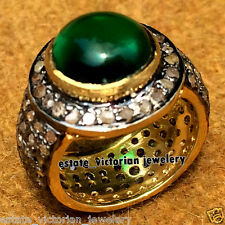 Emerald Studded Silver Wedding Ring Jewelry Vintage 3.87Ct Pave Rose Cut Diamond