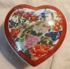 Heart Trinket Box - Peacock Flower Design - Japan - Vintage - Gorgeous!