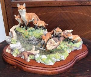 1995 Ltd Ed. 357/1950 border fine arts D Walton Family Outing FT07 Foxes
