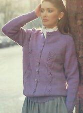 """Ladies Cardigan Knitting Pattern 40-50"""" Big & Larger sizes DK eyelet Design 626"""