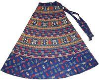 BLUE BURGUNDY 100% INDIAN COTTON WRAP AROUND SKIRT DRESS  8 10 12 14 80CM