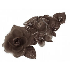 """3 brown Silk Pearl & organza flower Corsages 5""""x 2.5 with pearl pin"""