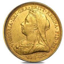1893-1901 British Gold Sovereign Victoria Old Head w/Veil Avg Circ