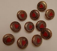 10 x 15mm Gold/Red Hearts Plastic Shank Buttons - B1901