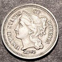 1870 3 Cent Nickel 5c DDO & RPD FS-101 Variety High Grade Semi Key Date NR