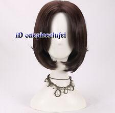 McCree corto lacio Marrón Oscuro pelucas de utilería + Gratis Peluca Cap