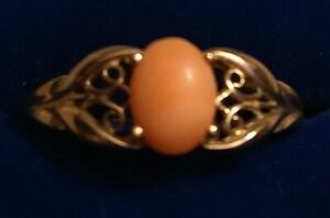 9ct Yellow Gold Coral Ring