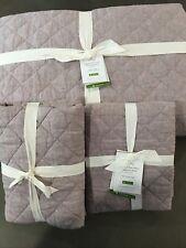 pottery barn belgian flax linen diamond king quilt &2 euro shams #745