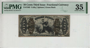 50 CENT THIRD ISSUE FRACTIONAL CURRENCY JUSTICE FR.1362 PMG CHOICE VERY FINE 35