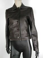 CAROLINE BISS CAPPOTTO DI PELLE VINTAGE Giubbotto Giacca Jacket Tg It 46 Donna