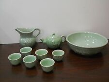 Celadon Green Sake or Child's Tea Set Bowl Teapot Creamer & 6 Cups Kin Da Art Co