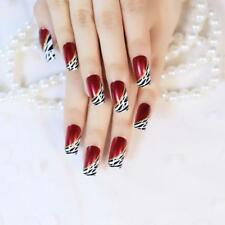 False Nails Press On Ladies Red Wine Striped Pre-designed Finger Manicure Decors
