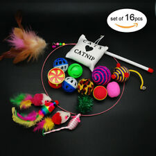Pet Cat Toys 16pcs Lot Bulk Mice Balls Bell Catnip Play Toy Feathers Teaser Wand