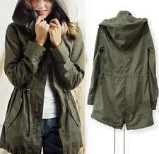 Womens Drawstring Army Green Military Trench Parka Hooded Jacket Coat Windbreake