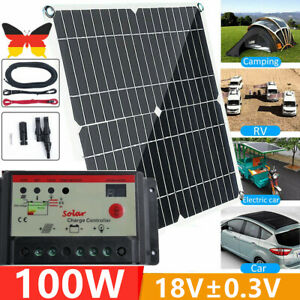 100W 12V Monocrystalline 36Grid Solar Panel+2pcs 5M Extension Cable+Controller
